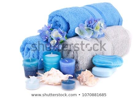 ストックフォト: Blue Towels With Lflowers And Shell