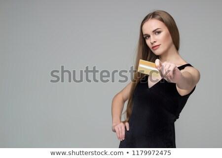 portret · kobieta · strony · zakupy · karty · kredytowej · odizolowany - zdjęcia stock © utorro