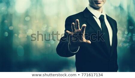 Profi üzletember mutat közvetlenül szükség toborzás Stock fotó © lovleah