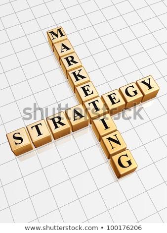 Złoty strategia marketingowa jak krzyżówka 3D Zdjęcia stock © marinini