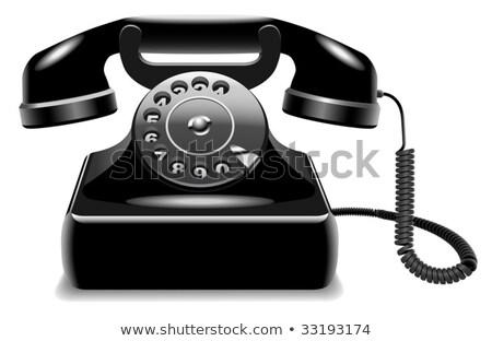 valósághű · idejétmúlt · fekete · telefon · telefonkagyló · izolált - stock fotó © tuulijumala