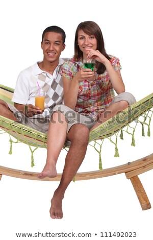 Photo stock: Couple · hamac · cocktails · femme · fille · homme