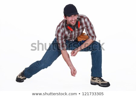 Rzemieślnik w dół działalności pracy niebieski Zdjęcia stock © photography33