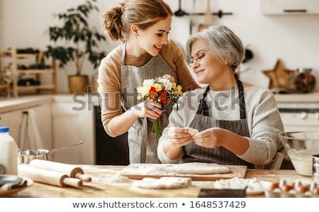 Anya lánygyermek torta lány mosoly buli Stock fotó © photography33