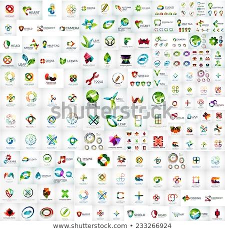 Szett logo ikonok fényes színes vektor Stock fotó © thecorner