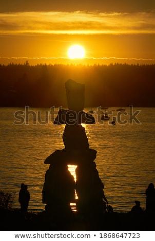 Silhueta pôr do sol foco primeiro plano céu sol Foto stock © Gordo25
