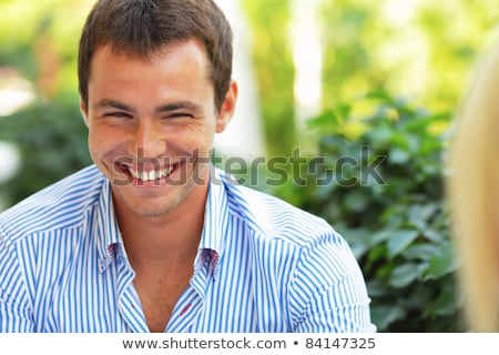 jonge · man · glimlachend · hand · kin · witte · glimlach - stockfoto © laindiapiaroa