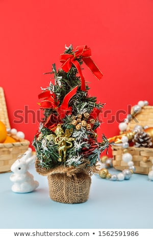 Stockfoto: Magic Christmas Tree And Vertical Red Golden Stripes