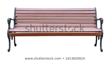 Foto d'archivio: Panchina · vuota · piazza · esterna · sfondo · bianco · clipart