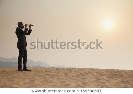 yandan · görünüş · adam · teleskop · boyama · beyaz - stok fotoğraf © zzve