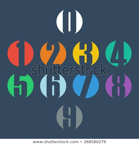 colorful and abstract icons for number 9 set 5 stock photo © cidepix