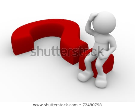 3d person sitting on red question mark stock photo © kirill_m