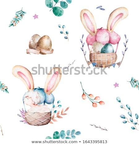 sheep easter eggs and straw rabbit stock photo © maros_b