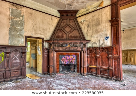 Old fireplace in an abandoned derelict building Stock photo © lucielang