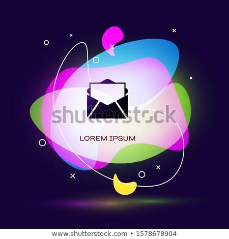 Envelope ícone escuro azul isolado preto Foto stock © zeffss