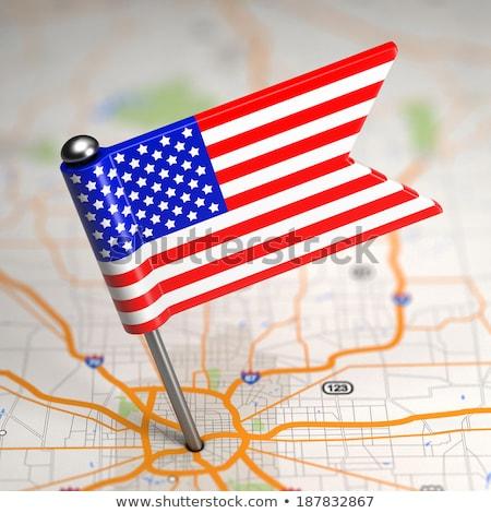 Соединенные Штаты Америки небольшой флаг карта избирательный подход Сток-фото © tashatuvango