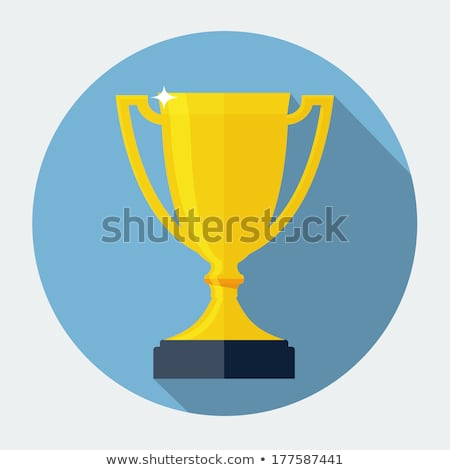 trophy cup flat icon with long shadow stock photo © m_pavlov
