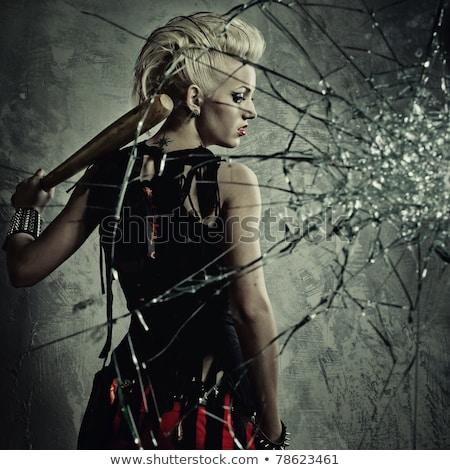 Punk ragazza dietro vetri rotti faccia vernice Foto d'archivio © Nejron