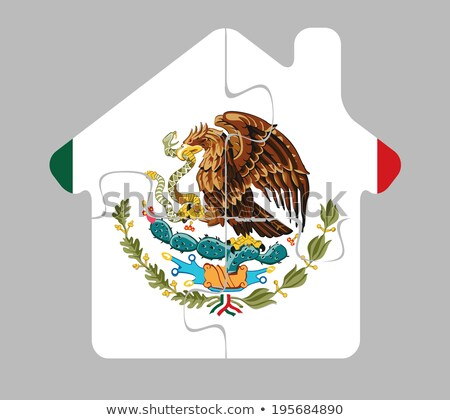 house home icon with Mexico flag in puzzle Stock photo © Istanbul2009