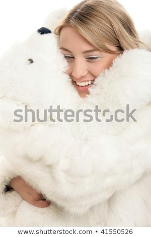 Mooi meisje winter kleding ijsbeer speelgoed meisje Stockfoto © Nejron