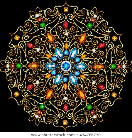 circular gold ornaments and precious stones stock photo © yurkina