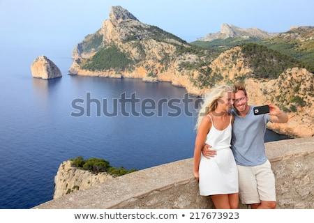 Couple taking selfie photo on Formentor Mallorca Stock photo © Maridav