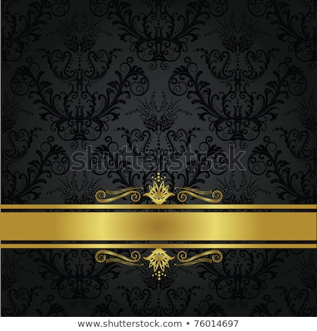 Gold ornament on black background. Can be used as invitation car Stock photo © leonido