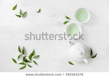friss · zöld · tea · üveg · edény · vízszintes · fotó - stock fotó © zoryanchik