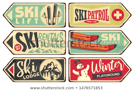 Vintage skieur vieux traditionnel bois bâton Photo stock © smuki