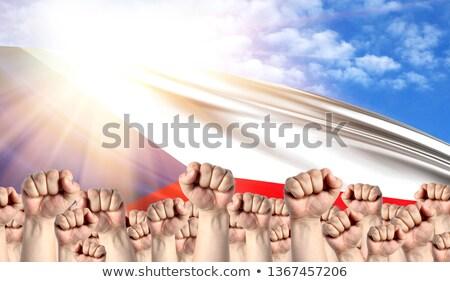 rel · protest · vuist · lucht · mannelijke - stockfoto © stevanovicigor