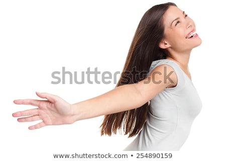 gelukkig · vrouw · gevoel · gratis · Open · armen - stockfoto © maridav