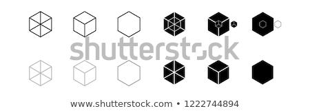 Cubos turquesa símbolo establecer signo azul Foto stock © almagami