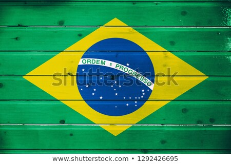 Brazilian Map With Wooden Flag  Stock photo © olgaaltunina