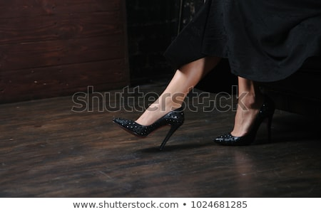 Black high heel shoes with spikes and studs  Stock photo © Elisanth