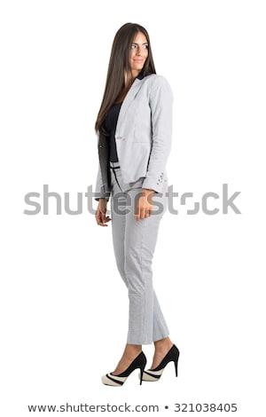 oldalnézet · mosolyog · üzletasszony · fehér · kezek · munkás - stock fotó © feedough