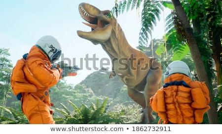 Twee dinosaurus 3d render meer heuvel water Stockfoto © mariephoto