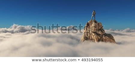 Felső hegy lány természet zöld kék Stock fotó © romvo
