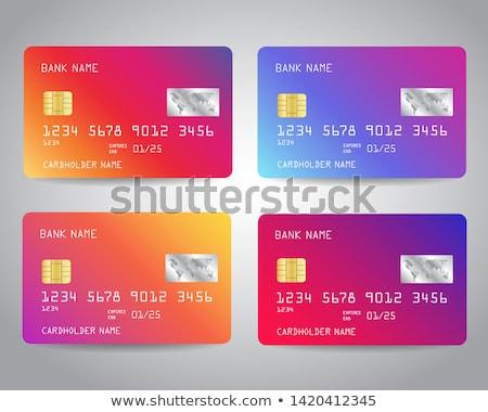 credit cards violet vector icon design stock photo © rizwanali3d