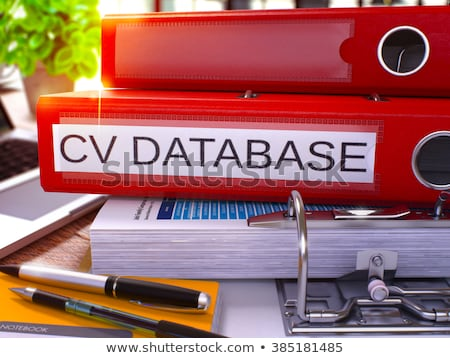 cv database on red ring binder blurred toned image stock photo © tashatuvango
