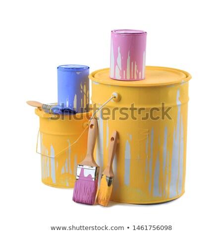 Ouvrir étain peuvent violette peinture isolé Photo stock © tetkoren