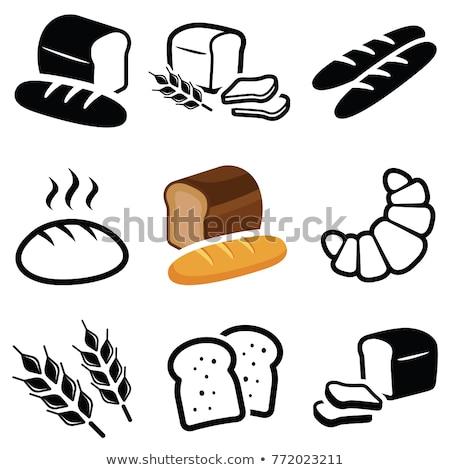 Vektor gyűjtemény fehér kenyér szeletek ikonok búza Stock fotó © freesoulproduction