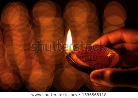 ディワリ · インド · 女性 · 石油ランプ · 美しい · 小さな - ストックフォト © imagedb