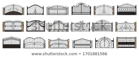 Cancello recinzione legno erba cielo blu vettore Foto d'archivio © Binkski