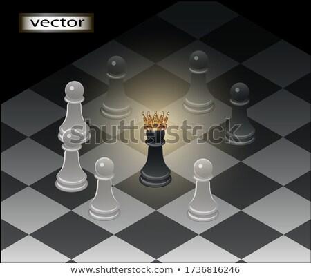 Altın taç simge güç satranç mecaz Stok fotoğraf © grechka333