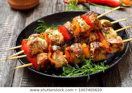 tyúk · nyárs · zöldségek · serpenyő · pörkölt · gombák - stock fotó © digifoodstock