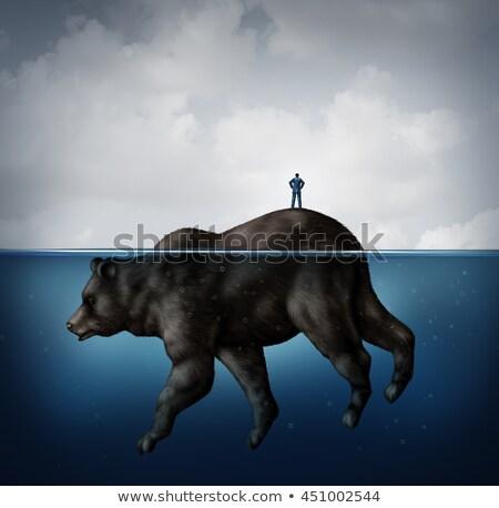 Stockfoto: Verborgen · beer · markt · financiële · naïef · zakenman