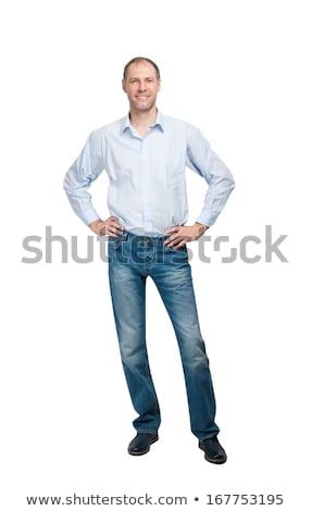 homme · tshirt · pointant · design · étudiant - photo stock © sumners
