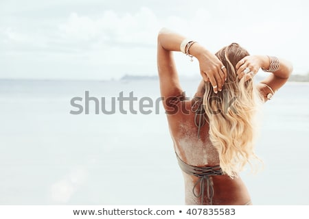 model · plaj · yalınayak · mavi · mayo · deniz - stok fotoğraf © bezikus