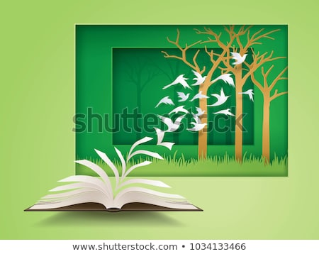 Illustration of an open book in the jungle Stock photo © ankarb