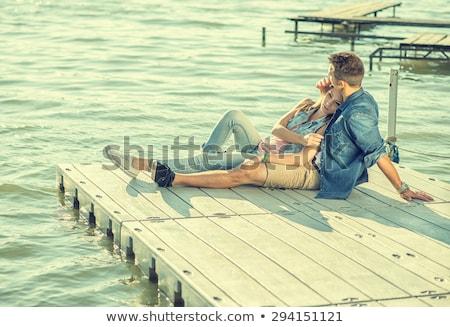Romantique belle couple amour pier Photo stock © deandrobot
